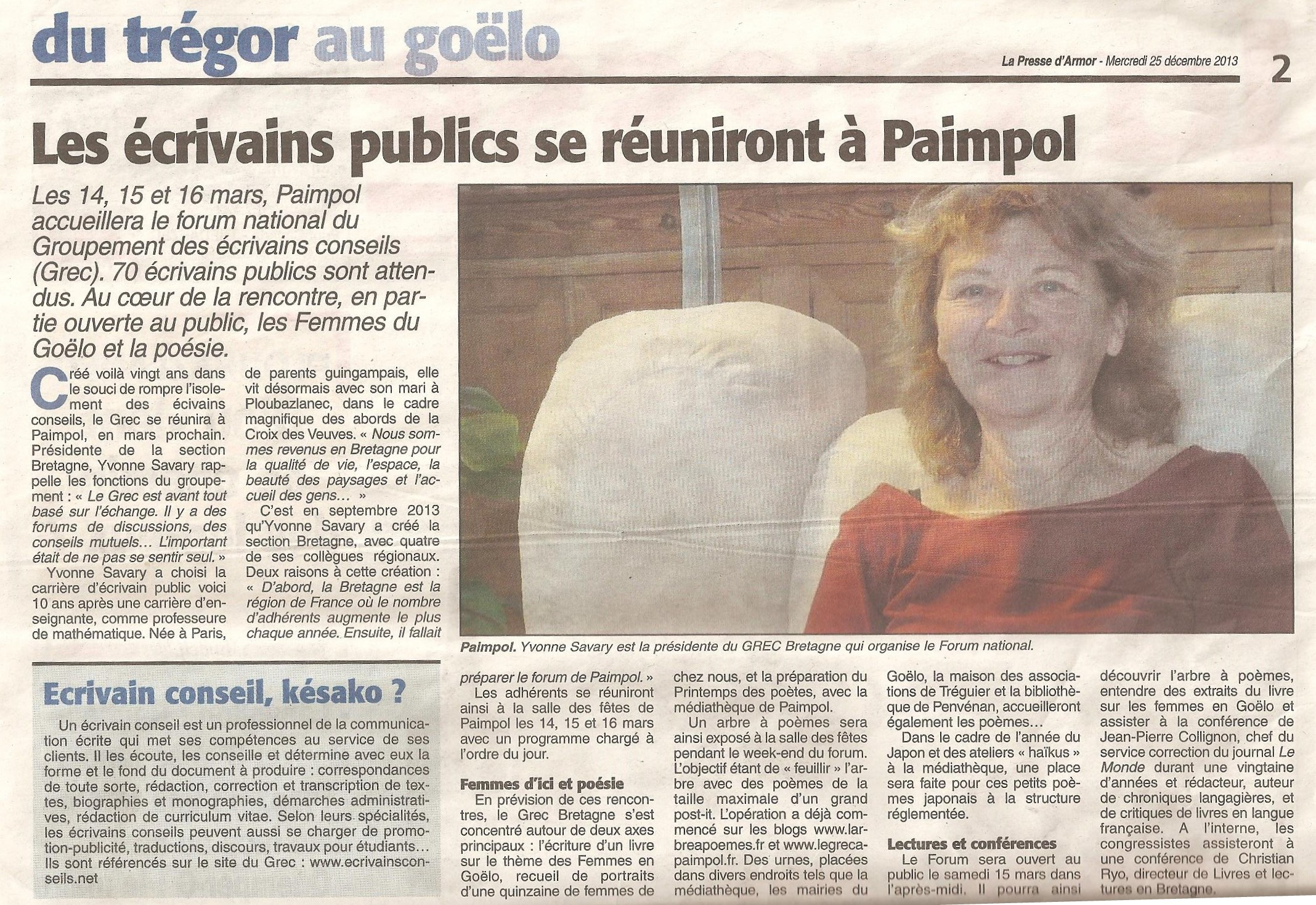 Article de la Presse d'Armor du 25 décembre 2013