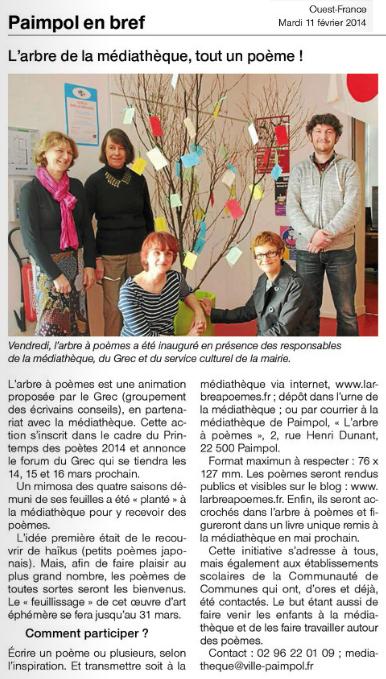 Ouest-France, L'arbre de la médiathèque, tout un poème ! (11 février 2014)